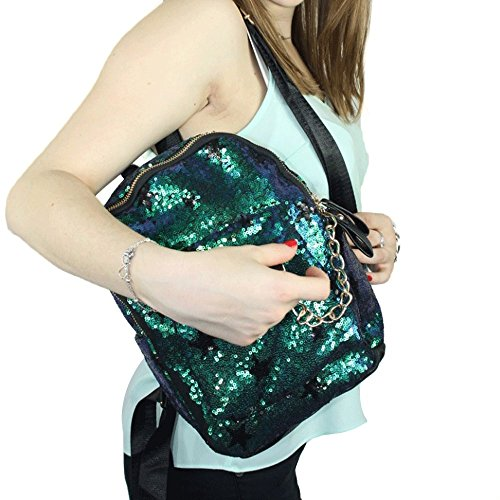 Di lusso Student Sequin School Backpack Bling PU Leather Rucksack for Women Girls Green