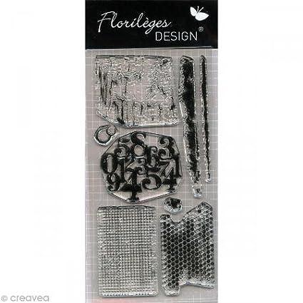 Florileges Design FDCL 113010 Tampon Scrapbooking Textures 2 Grigio chiaro 25 x 11, 5 x 0, 5 cm Florilèges Design FDCL113010