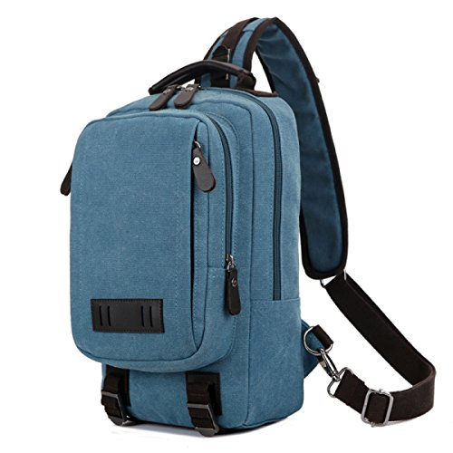 Package Shoulder Bag Blue Laidaye Canvas Chest Business functional Capacity Casual Multi Messenger Large pwUXqtHxUv