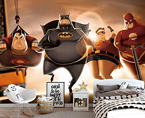 Murwall Child Wallpaper Batman Superman Wall Mural Animation Characters Wall Print Nursery Wall Decor Boys Bedroom]()