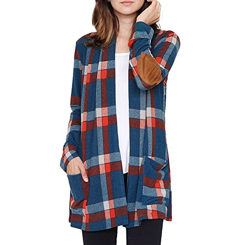 Cardigans for Women, Misaky Buffalo Plaid Long Sleeve Elbow Patch Draped Open Front Cover Up (Medium, Blue_1) (Jacket Womens Holiday)