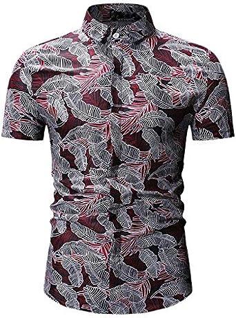 WOVELOT Camisa Hawaiana De Playa Camisas Estampado Floral Para Hombre Camisa De Manga Corta De Verano Moda De Hombre Tops Sueltos Casuales Vacaciones Ropa De Vacaciones Rojo M: Amazon.es: Ropa y accesorios
