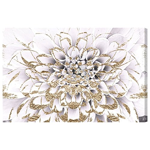Floralia Blanc by Oliver Gal | Modern Premium Canvas Art Print. The Floral and Botanical Wall Art Decor Collection. 36x24 inch, Gold by The Oliver Gal Artist Co.