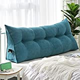 M&Z Cotton Linen Filled Triangular Wedge Cushion Bed Backrest Positioning Support Pillow Reading Pillow Home Office Lumbar Pad With Removable Cover, Queen Bed Rest Pillows,Lakeblue,60X50cm