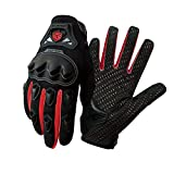 SCOYCO Mens Breathable Racing Motorcycle Reinforced Knuckle Sport Gloves (RED,XL)