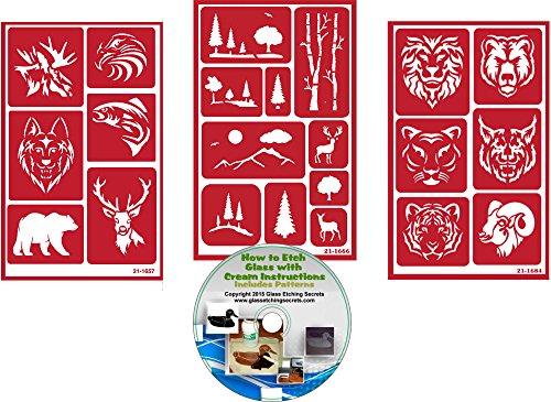 Wild Animal Stencils, Reusable (3) Pack: Deer, Elk, Fish, Eagle, Wolf, Bear, Lion, Tiger, Ram, Cougar, Jaguar + How to Etch CD
