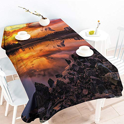 Jinguizi Oil-Proof Spill-Proof USA Missouri Kansas City Scenery of a Sunset Lake Nature Camping Themed Art PhotoKitchen Dinning Party TableclothMulticolor(50 by 80 Inch Oblong Rectangular) -