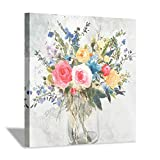 Abstract Colorful Flower Picture Artwork: Bouquet Roses in Crystal Vase Painting Canvas Wall Art for Dining Room (24' x 24'' x 1 Panel)
