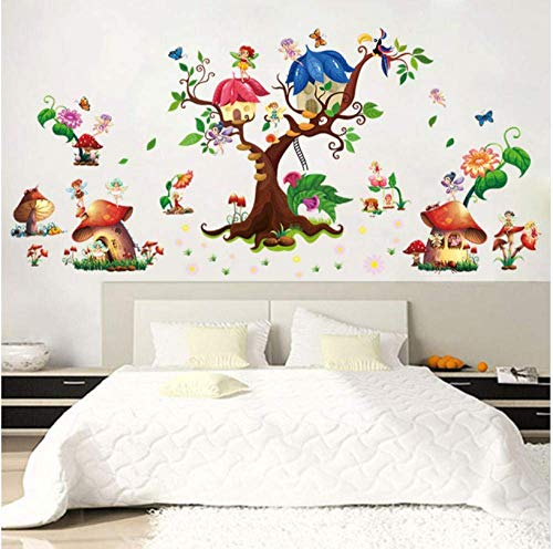 LJLQ Butterfly Elf Fantasy Mushroom Cottage Wall Stickers Cartoon Wings Angel Tree Children's Bedroom Removable Self-Adhesive Mural