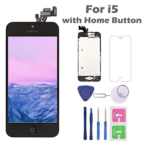 (For iPhone 5 Screen Replacement Home Button, Arotech 4.0 inch Full Assembly LCD Display Digitizer Touch Screen Repair Tool Kit Tempered Glass (i5 Black))