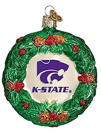Kansas State Wildcats Holiday Ornament - NCAA Kansas State Wildcats Glass Wreath Ornament
