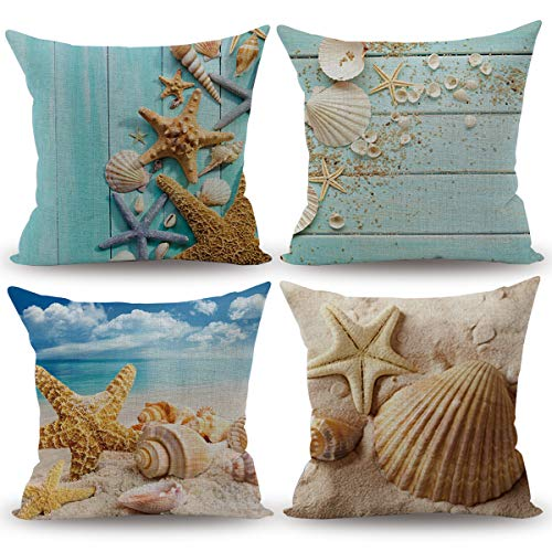 CARRIE HOME Nautical Coastal Decor Starfish/Seashell/Sand/Beach House Decorative Throw Pillow Covers 18 x 18 Inch for Party, 4 -