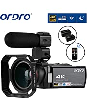 Video Camera 4K Camcorder ORDRO 4K Ultra HD Digital Camera 30MP 1080P 60FPS Video Camcorder IR Night Vision WiFi Recorder with Microphone, Wide Angle Lens and 2 Batteries