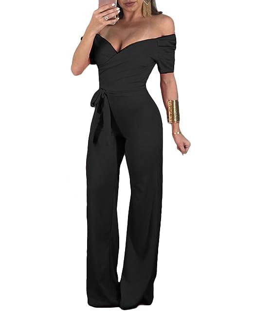 Liangzhu Tuta Donna Elegante Tute Tutine V Scollo Manica Corta Jumpsuit  Intere con Cintura Monopezzi Larghi Partito Puro Colore Casual Playsuits   Amazon.it  ... 3af0de158d3