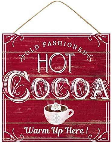 Craig Bachman 12 Inch Square MDF Printed Sign Vintage Hot Cocoa Theme