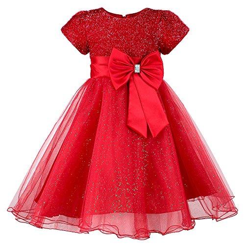 HUANQIUE Little Girls Wedding Flower Girl Dress Princess Pageant Dress Red 8 (Red Girls Dress)