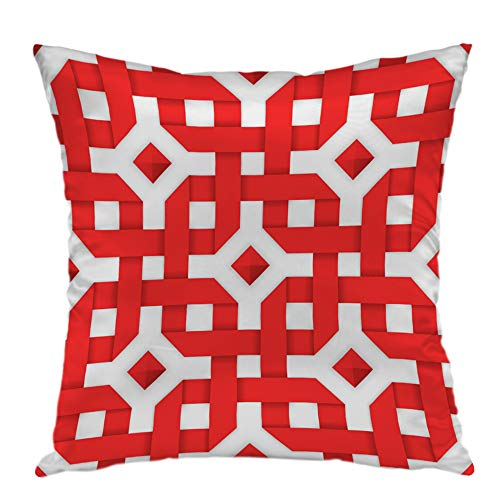oFloral Pillow Covers Cases Interwoven Red Ribbons Pattern Pillowcase Decorative Square Cushion Cover Home Decor 20x20 inch