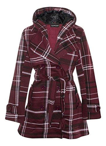 Wine Duffle - Noroze Womens Check Hood Plus Size Duffle Coat (6(UK 10), Wine Tartan)