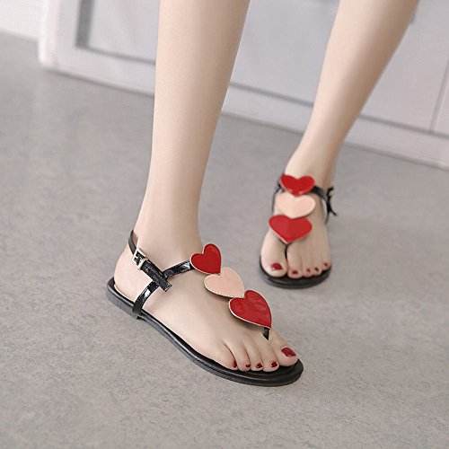 Carolbar Womens Buckle Heart-Shaped Decorations Casual Flip-Flops Sandals Red cPeBqsZQNd