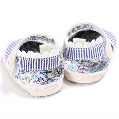Tefamore zapatos bebés suaves antideslizantes del niño de la sola impresión de la raya del corazón de los calza la zapatilla de deporte blanco