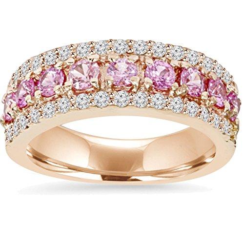 - 1 1/2ct Pink Sapphire & Diamond Wedding Ring 14K Rose Gold - Size 6.5