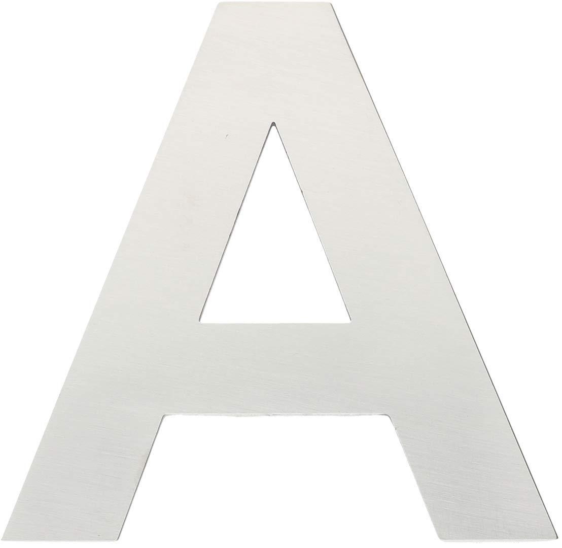 /8/cm H/öhe. M/étal Lettre A/ /Acier Inoxydable bross/é avec adh/ésif 3/m/