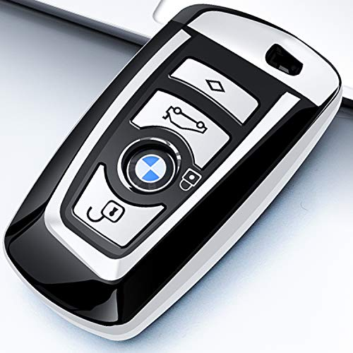 Intermerge for BMW Key Fob Cover, Soft TPU Key Case Shell Pouch for BMW 1 3 4 5 6 7 Series and X3 X4 M5 M6 GT3 GT5 Keyless Entry Key Cover-Silver ()