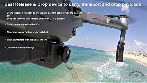 Professional Drone Release and Drop Device for Payload Delivery, Drone Fishing, Bait Release, Search & Rescue for DJI Mavic PRO Series Drones by Drone-Sky-Hook
