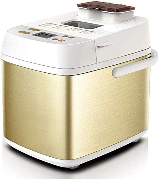 YANG Electric Bread Making Machine Multifunctional Smart Cake Bread Maker Led Toching Screen Rapid Bake Bread Maker With Automatic Fruit And Nut Dispenser Golden 36.5x27x33.5cm(14x11x13inch)