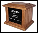 Pet Cremation Memorial Urn by Eric @ StoneArtUSA / Small Light Oak Wood & Granite for pets up to 48 lbs. / Custom Personalized Engraved Laser Etched Photo Marker Dog Cat Pet Ashes