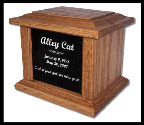 Urn Etch (Pet Cremation Memorial Urn by Eric @ StoneArtUSA / Small Light Oak Wood & Granite for pets up to 48 lbs. / Custom Personalized Engraved Laser Etched Photo Marker Dog Cat Pet Ashes)