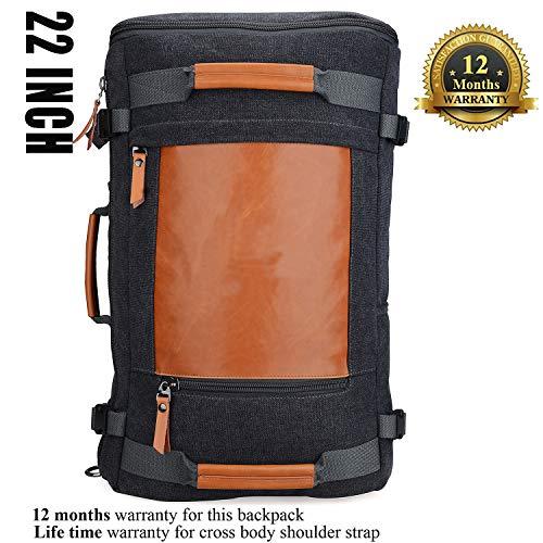 4667cd878 WITZMAN Men Vintage Canvas Rucksack Travel Duffel Backpack Retro Hiking Bag  2063 (22inch Black)