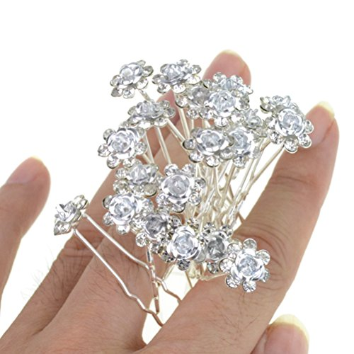Rbenxia Bridal Wedding Crystal Hair Pins Bridal Prom Clips Pack of 20pcs (Easy Pinup Hair)