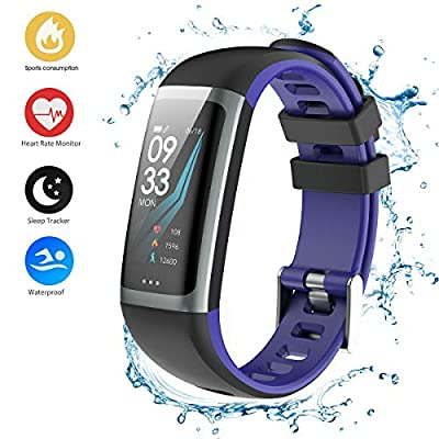Fitness Tracker Watch, Activity Tracker Watch Smart Bracelet Heart Rate Blood Pressure Monitor, Color Screen Step Counter Pedometer Watch,IP67 Waterproof Smart Band (G16-01)