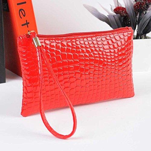 Ularma Bolso de mano, Artificial cocodrilo cuero bolso monedero de la mujer (negro) rojo