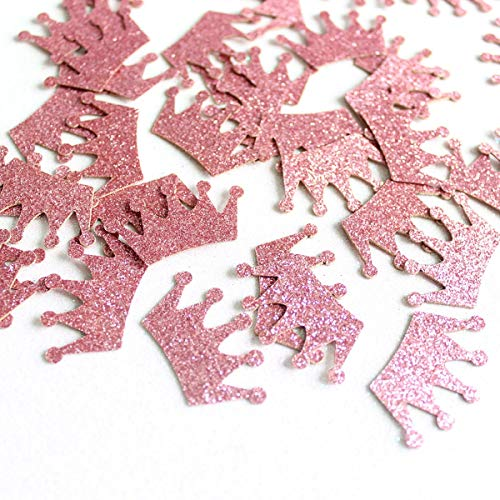 Glitter Paper Confetti - Rose Gold Circle Diamond Ring Crown, Gold Circle Heart Diamond Ring Crown Stars for for Party Decor and Table Decor - 100pcs/pack -