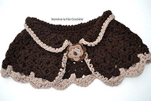 Cape marron chauffe épaules au crochet fait main pour adulte ou enfant, broche fleur,