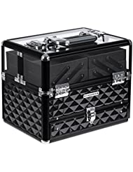 SONGMICS Train Case, Deluxe Jewelry Cosmetic Organizer, Beauty Vanity Makeup Case, with Transparent Acrylic Lid, Pull-Out Tray, Black UMUC318B