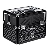 SONGMICS Train Case, Deluxe Jewelry Cosmetic Organizer, Beauty Vanity Makeup Case, with Transparent Acrylic Lid, Pull-Out Tray, Black UMUC318B, XL