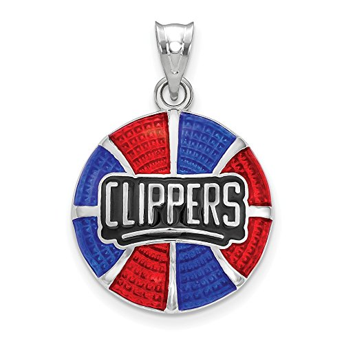 FB Jewels Sterling Silver Los Angeles Clippers Basketball Enameled Pendant
