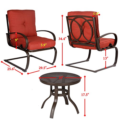Cloud mountain 3 pc patio bistro set outdoor cafe for Wrought iron cafe chairs