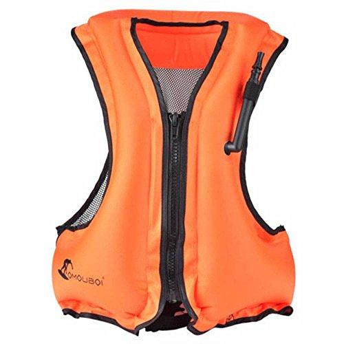 (OMOUBOI  Adult Portable Inflatable Floatable Vest Swim vest, Life Jackets, Life Vest, Snorkel Vest, Snorkeling, Fishing Vest, Swimming,Drifting,Surfing, Diving, Boating, Kayaking, Canyoning (orange))