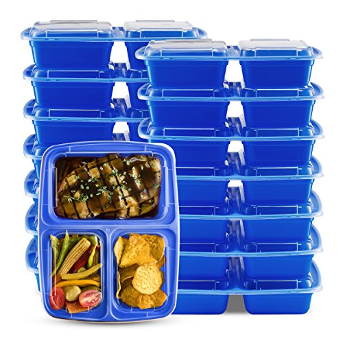 3 Compartment Meal Prep Lunch Box and Food Storage Container Set - Blue- 14 Pack
