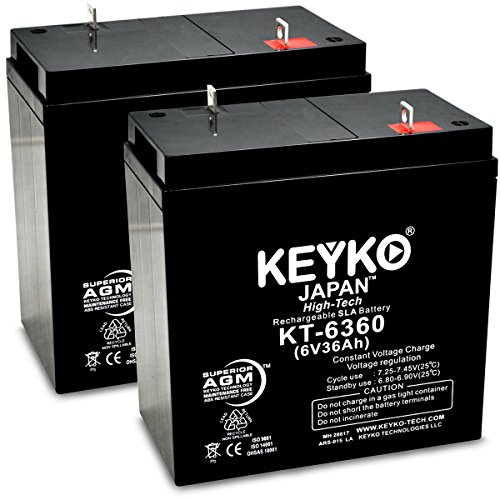 KEYKO Genuine KT-6360 6V 36Ah Battery SLA Sealed Lead Acid / AGM Rechargeable Replacement - F2 Terminal - 2 Pack by KEYKO