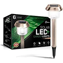 Solar-Powered LED Bronze Garden Lights, Lifetime Replacement Guarantee', Perfect Neutral Design; Makes Garden Pathways & Flower Beds Look Great; Easy NO-Wire Installation; Weather Resistant.