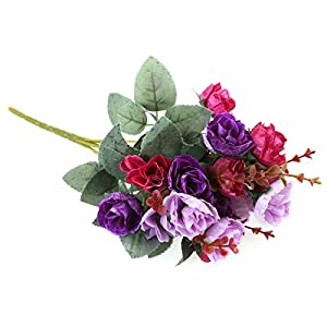 Vintage Artificial Rose Flowers Bouquet for Valentine's Day Wedding Home Party Decoration (Purple) 111