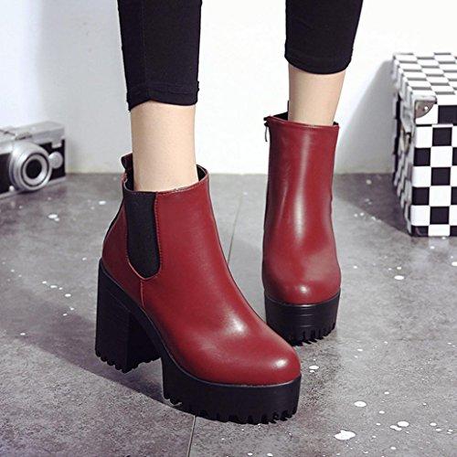 Kaicran Femmes Bottes Dhiver Bottes De Mode Martin Chaussures De Démarrage Carré Talon Plates-formes Pu Bottes De Cuir Rouge