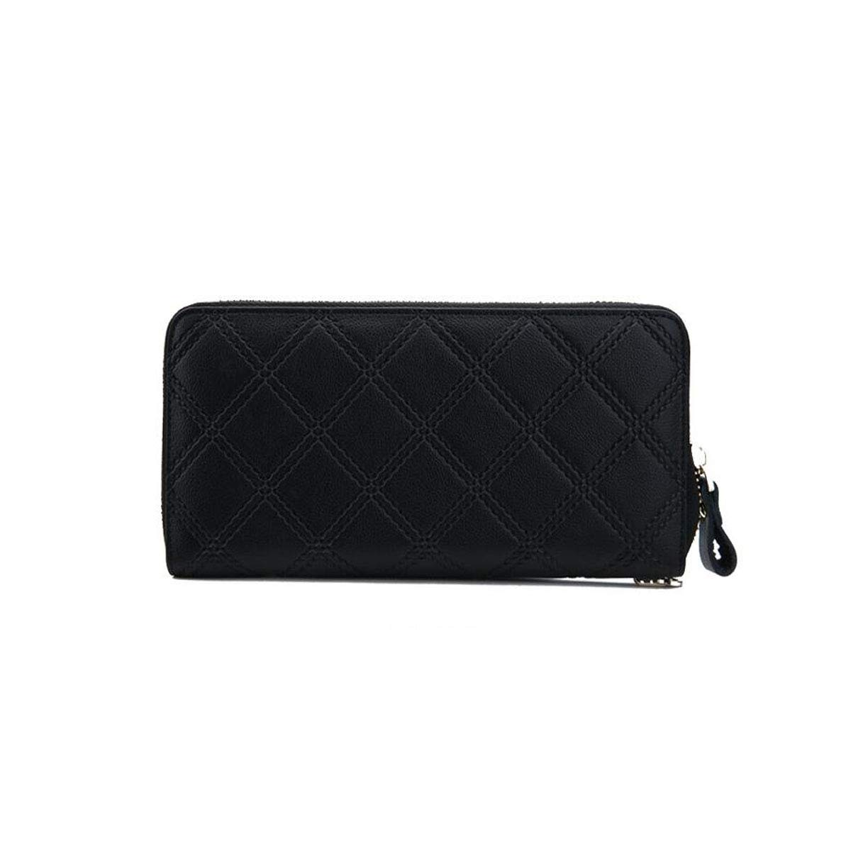 Size cm Stealth Mode Blocking Leather Wallet 20 2 9.5 Kalmar RFID Travel Wallet for Women Leather Handmade Classic Plaid Long Zip Large Capacity Wallet Black