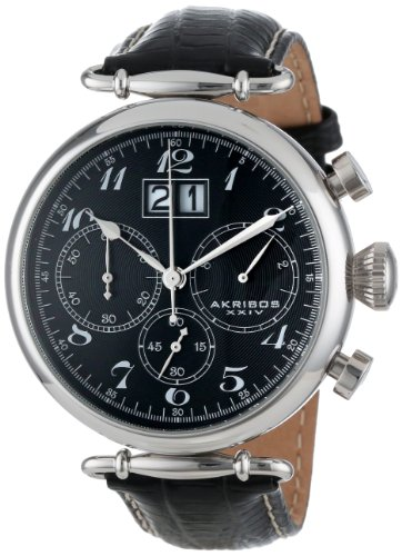 Men's Chronograph Quartz Watch - 3 Large Subdials and Date On Engraved Sunburst Concentric Circles Dial on Lizard Finish Leather Strap - AK628
