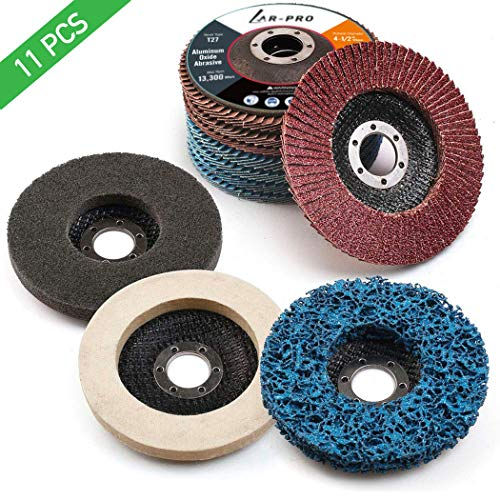 11PCS All-in-One 4.5 Inch Flap Discs & Grinding Polishing Discs Kit for Angle Grinder - 40/60/80/120 Grit Assorted Sanding Grinding, Strip, Nylon, Felt Polishing Disc | Removal to Polishing
